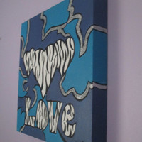 Teen Girls Abstract Art on Canvas, Heart Painting, Zebra Design, Love art, 12x12 Canvas