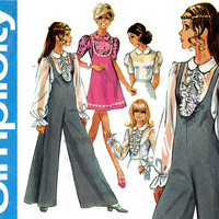 1960s Jumpsuit Pattern Bust 34 Simplicity 8200 Day or Evening Jumper Palazzo Pants Jumpsuit and Sheer Blouse Womens Vintage Sewing Patterns
