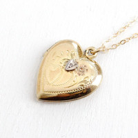 Vintage Gold Filled on Sterling Diamond Heart Locket Necklace - 1940s WWII Era Sweetheart Flower Etched Jewelry