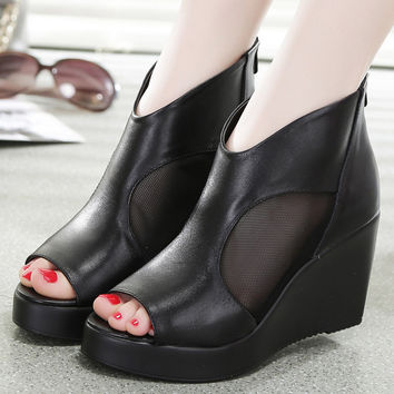 Open Peep Toe Genuine Leather Mesh Thick Soled Booties High Heeled Platform And Wedges Footwear Women Office Shoes Pumps Sandals