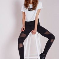 Missguided - High Waist Mesh Panel Leggings Black