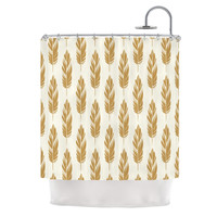 "Amanda Lane ""Feathers Yellow Cream"" Mustard Pattern Shower Curtain"