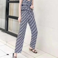 """DIOR""Woman's Leisure  Fashion Letter Personality Printing Strapless Shoulder Open Back Loose Sleeveless Tops Trousers Wide Leg Pants Two-Piece Set Casual Wear"
