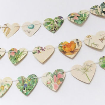 Spring bunting - heart bunting upcycled from Country Diary of an Edwardian Lady - Mothers Day gift - wedding decor