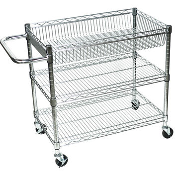 Utility Cart:  Luxor 3 Shelf Chrome Wire Tub Cart