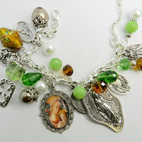 Religious Bracelet  Charm Bracelet Holy Medals Miraculous Medal Virgin Mary Jewelry