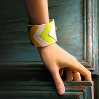 Leather Cuff Bracelet, geometric natural leather jewelry, chevron jewelry, yellow and white grey