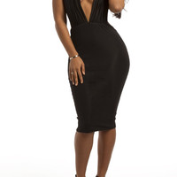 Black Plunging Halterneck Bare Back Bodycon Dress
