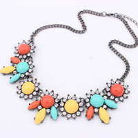 New Arrival Jewelry Shiny Gift Stylish Floral Gemstone Strong Character Necklace [6573115207]