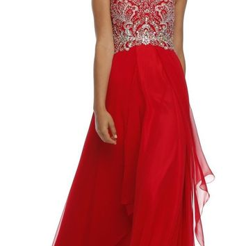 Layered Strapless Sweetheart Neckline Red Prom Dress