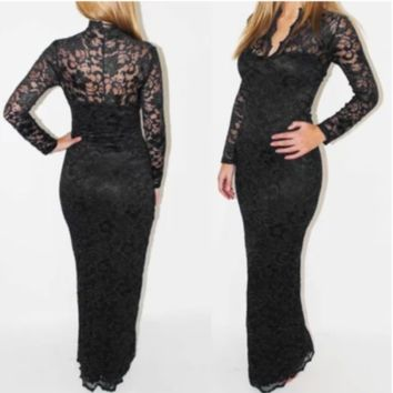 Plus Size Dress Women Lace Long Sleeve Scalloped Neck Cocktail Party Maxi Prom
