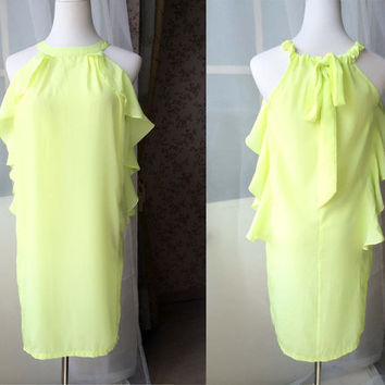 Yellow Halter Dress -Sexy Summer Dress -Back Bow Knee Party Dress - Beach Wedding, Short Party Dress. One size. Chiffon Dress