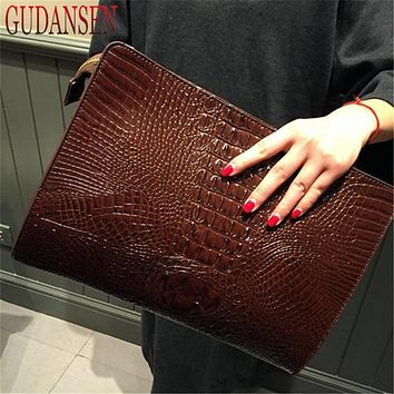 GUDANSEN Crocodile Bag Women's Envelope Clutch Party Evening Vintage Retro Women Leather Handbags Tote Hand Bag