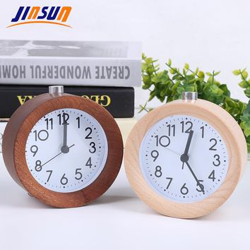 JINSUN Alarm Clock Circular No Ticking Snooze Backlight Digital Clock Table Clocks Wooden Table Clock