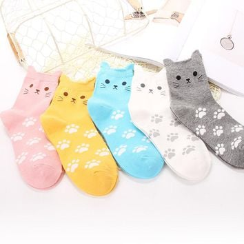 2017 Lovely Character Casual Cotton Socks Candy Color Small Ears Cat Women Soft Comfort Socks Cartoon Animal Printing Series