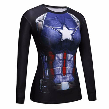 Girls Crossfit Captain America Compression Shirt 3D Anime Marvel