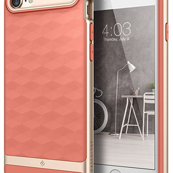 iPhone 7 Case, Caseology [Parallax Series] Modern Slim Geometric Design [Coral Pink] [Textured Grip] for Apple iPhone 7 (2016)