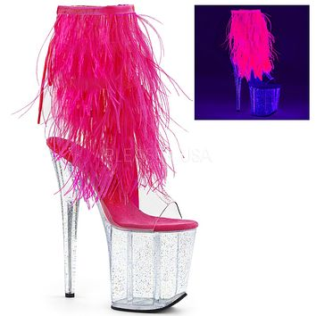 Marabou Fringe Ankle Boot With 8 Inch Heels Stripper Boots