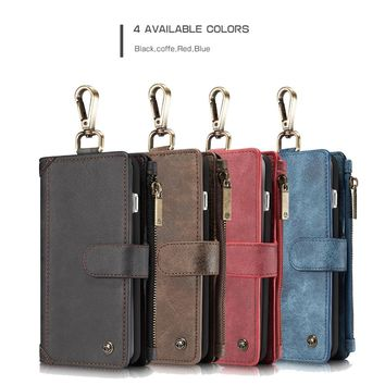 Multifunction Buckle Zipper Wallet 2 In1 Design Genuine Leather Phone Case Cover For Samsung S8 S8 Plus Cases mobile phone shell