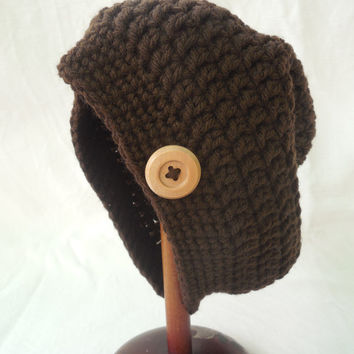 Brown Child's Slouchy Hat with Wooden Button, Handmade to fit ages 2-5, Toddler Hipster Beanie, Fall Winter Preschooler Hat, Autumn Crochet