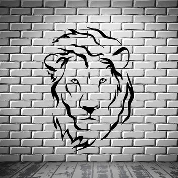 Lion Head Predator King Tribal Simbol Decor Wall MURAL Vinyl Art Sticker Unique Gift z777
