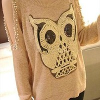 Chic Owl Print Open Long Sleeve Beaded Jumper Top MS635 from MooChiStyle