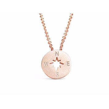 Rose Gold Compass Necklace Backpackers & Travelers
