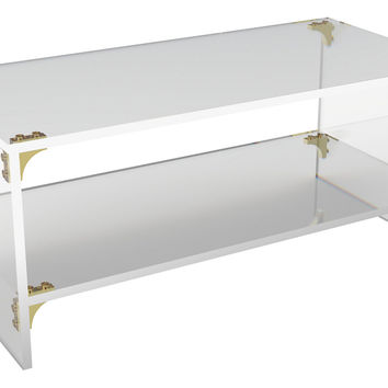 Parisienne Coffee Table w/ Shelf, Small, Acrylic / Lucite,