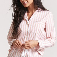 Stripe Pajama Shirt & Shorts Set