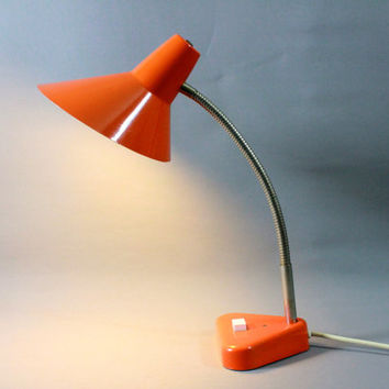 Vintage Mid Century Gooseneck Desk Lamp Tangerine Orange Space Age Atomic Design 1950s 1960s