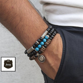 Men's turquoise bracelet stretch silver Bracelet set Men African Tribal bracelets gift Mens Beaded Bracelet set Men's homme Boho bangle gift