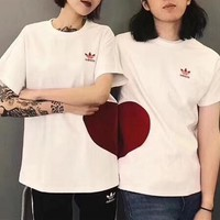 Adidas Unisex Casual Fashion Love Heart Couple Short Sleeve T-shirt Top Tee