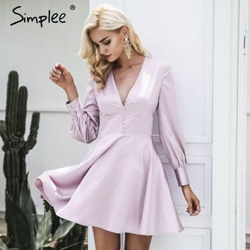 Fashion satin soft fashion winter dress women V neck short sexy dress button long sleeve dress