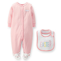 Carter's Newborn-9 Months Dotted Footed Coverall & Easter Bib Set - Pi