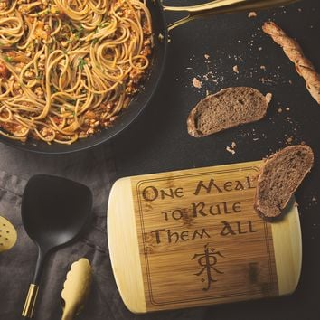 LOTR One Meal to Rule Them All Laser Etched Bamboo Cutting Board