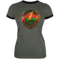 Grateful Dead - Scarlet Fire SYF Dark Grey Juniors Ringer T-Shirt