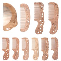 Wooden Natural Peach Wide Tooth Comb