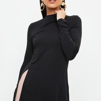 Missguided - Black High Neck Split Front Tunic