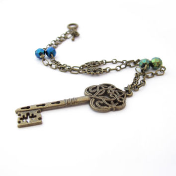 Skeleton Key Chain Necklace