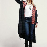 Free People Womens Glad to be Plaid Maxi Jacket