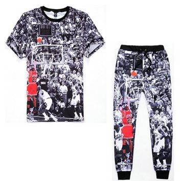 Newest Fashion Mens/Womens T Shirts+Joggers Pants 3D Printed Jordan NO.23 Casual sweatpants Leisure suit 2 piece sets