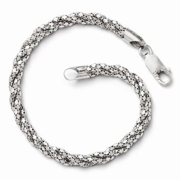 Sterling Silver Polished Mesh Bracelet