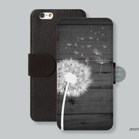dandelion on black wood Leather Wallet cover iPhone 6 case iPhone 6 plus case, iPhone 5s case iPhone 5c case Galaxy s3 s4 s5 Note3 - C00071
