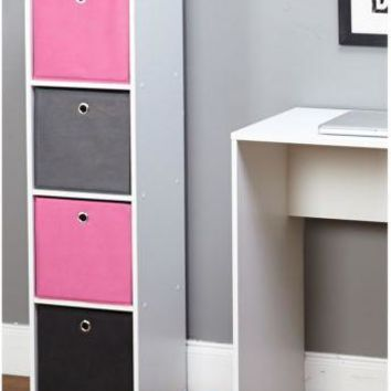 Fabric Bin Bookcase Dorm Student Drawer Storage PINK Girls Bins Cute Modern Wood