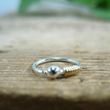 Little Hoop Earring Sterling Silver Ball with Gold Wrap Single