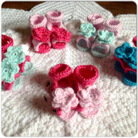 Baby Open Toe Sandals MORE COLORS- SIZES featuring Button Closure, Hand Crochet Shoes, Flower on each Sandal