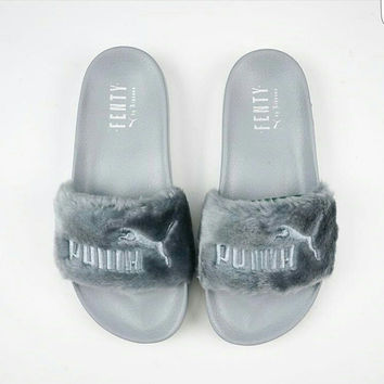 Rihanna Fenty Fur Puma Slippers Gray