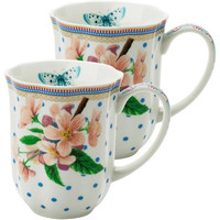 Lisbeth Dahl | Set of 2 Flowers and Polka Dots Porcelain Coffee Mugs