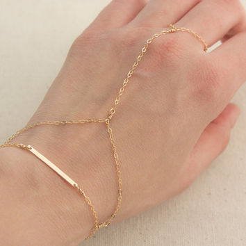 Gold Filled Hammered Bar Slave Bracelet