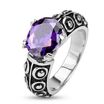 Faceted Violet Oval Gem of the Sea Cast Ring Stainless Steel